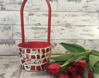 Broken China Mosaic Basket- 6 Inch Red Flower Basket Easter Basket Pot Cover