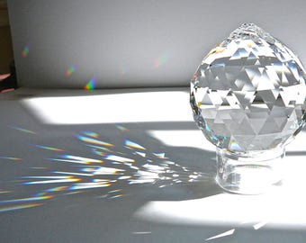 """Swarovski 70mm (2.75"""") Ball, 2nds Sale, Very Tiny Flaw, Faceted Crystal Ball Suncatcher With or Without Strand, Rainbow Maker, Sun Catcher"""