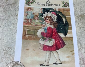 "Little Girl with Umbrella Vintage Fusible Image approx 2 3/4"" x 3"""