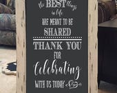 Wedding Thank You for Celebrating His and Hers Initials in Heart Custom Chalkboard DecalWall Decor Words Vinyl Lettering Decal
