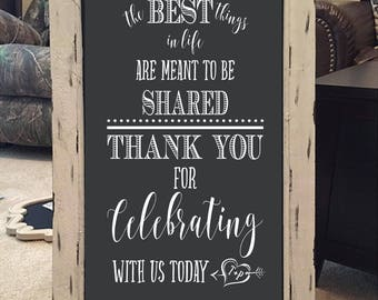 Wedding Thank You for Celebrating His and Hers Initials in Heart Custom Chalkboard Decal Wall Decor Words Vinyl Lettering Decal