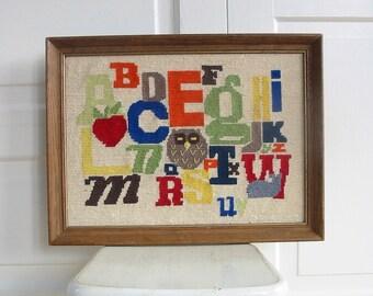 Vintage Framed Alphabet Embroidery, Alphabet Crewelwork, Alphabet Needlepoint, Alphabet Crewel Work, Nursery Art, Owl Embroidery, Owl Art