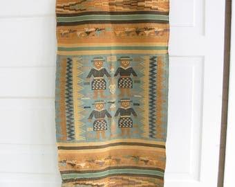 Vintage Native American Wall Hanging, Boho Decor, Bohemian Wall Decor, Hand Sewn Wall Hanging, Indian Wall Decor, Aqua Brown Wall Decor