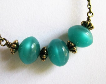 Teal Green Necklace, Antique Bronze and Teal Green Necklace