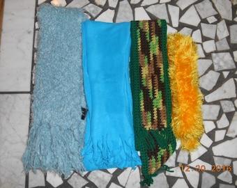 Vintage Lot of 4 Women's Scarves Knit Crochet Fleece