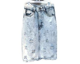 Vintage Jean Skirt, Acid Wash Denim Pencil Skirt, No Excuses blue 80s Denim Skirt Ripped Jeans Skirt Distressed Denim Straight Skirt XS 2 S