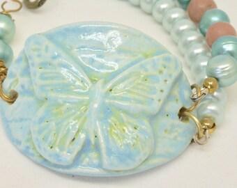 Pastle Blue Butterfly Bracelet, Ceramic Blue Bracelet, Light Blue Cuff Bracelet, Butterfly Jewelry, Teal and Pink Bracelet, Gift for Her