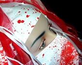 Blood Splatter White Cotton Headband - Closeout SALE - Ready to Ship