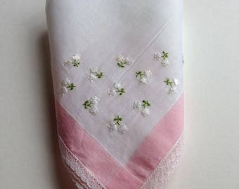 Vintage Hankie Handkerchief Floral Sewn Flowers Pink and White with Lace