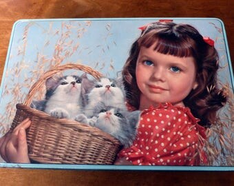 Vintage Tin Schuybroek Blue Eyed Girl With Kittens Blue Box Basket Gray Cats