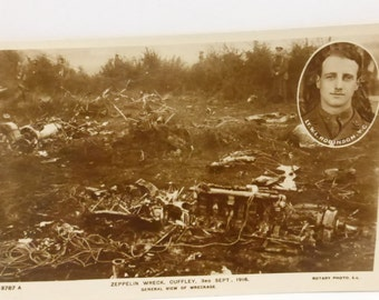 Antique Post Card Real Photograph of Zeppelin Wreck Sept 3, 1916 Lt. W.L. Robinson
