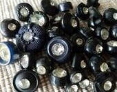 Vintage buttons, lot of 36 assorted black solitaire acrylic with rhinestones designs,  (mar 82 17 )