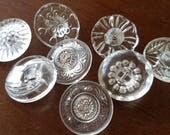 Vintage Buttons - lot of clear Depression glass, faceted novelty cut glass, assorted  designs lot of 8 shank backs( apr 61 17)