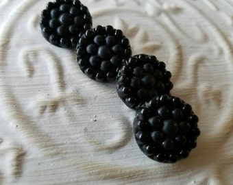 Vintage Buttons - lot of 4 matching small pressed flower  Victorian jet black glass, design,  (feb 469 17)