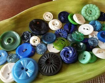 Vintage Buttons - Cottage chic mix of green, blue, and white lot of 45 old and sweet(mar 56 17)