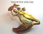 RESERVED for SUE mermaid brooch with gold shimmering tail pin