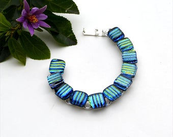 84 Dichroic fused glass link cabochon bracelet, squares, green and blue stripes