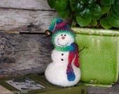 Needle Felt Snowman - Needle Felted Snowman - Christmas Snowman - Christmas Decoration - Christmas Decor -  Wool Snowman - Winter Décor -847