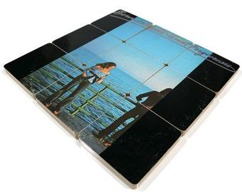 Bonnie Raitt handmade wood coasters and vinyl bowl created from recycled Sweet forgiveness record album
