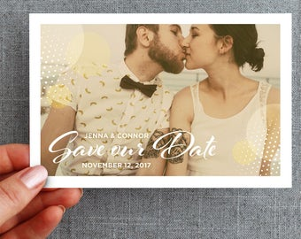 "50+ Save the Date, Gold Glitter Dots, postcard ""Jenna Style"""