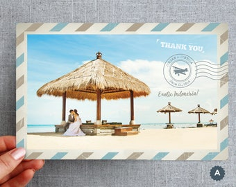 50+ Oversized Thank you, Postcard, Destination Wedding, Air Mail