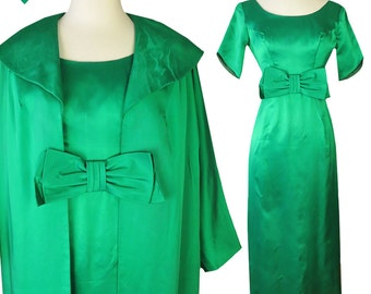 Vintage 50s 60s Dress // Green Satin 2 Piece Coat & Dress Set XS S Bow Big Collar Matching Party Long Maxi Dress Rockabilly Pinup Bombshell
