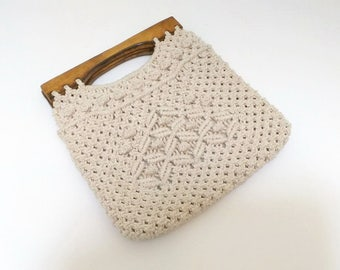 Vintage Beige Crochet Purse Wood Handles