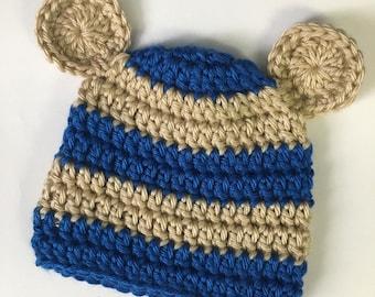 Newborn bear hat... blue and tan... photography prop.. ready to ship... newborn boy beanie