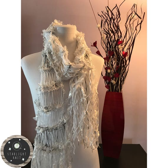 Hand Knit Ladies Fashion Accessory Scarf with White Shimmer accented with Silver Shimmer and Fun Eyelash effect