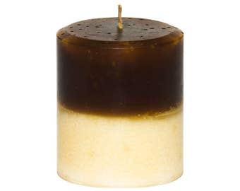 Decorative Chocolate Vanilla Pillar Candle - Handmade - 14 oz  - 397 grams