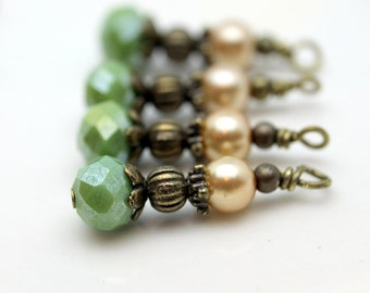 Vintage Style Opaque Green Crystal Rondelle and Golden Pearl Bead Dangle Drop Set