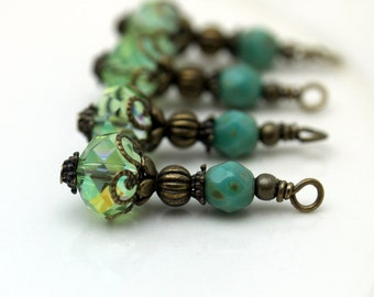 Vintage Style Green Crystal Rondelle and Turquoise Czech Bead Earring Dangle Charm Pendant Drop Set, Jewelry Making, Components