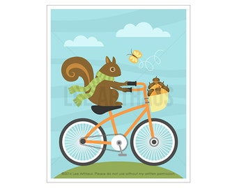 Squirrel On Bicycle Etsy