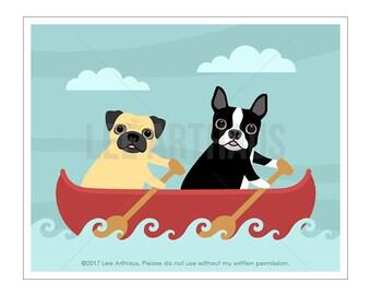 148D Dog Art - Pug and Boston Terrier in Red Canoe Row Boat Wall Art - Rowing Print - Canoe Wall Art - Row Boat Print - Red Boat Wall Decor