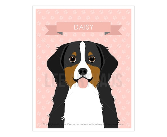 13N Custom Name Art - Personalized Bernese Mountain Dog Wall Art - Dog Nursery Art - Bernese Mountain Print - Baby Room Wall Art - Dog Gift