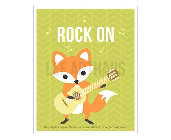 20T Fox Nursery Art - Rock On - Fox Playing Guitar Wall Art - Music Print - Modern Animal Art For Boys - Fox Drawing - Fox Art Prints