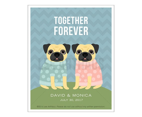 221P Personalized Couple Gift - Together Forever Pug Wall Art - Anniversary Gift - Important Date Wall Art - Mr and Mrs Gift - Pug Art