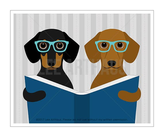 313D - Dachshund Print - Two Dachshund Dogs Reading Book Wall Art - Dachshund Lover Gift - Dog Lover Art - Puppy Wall Art - Doxie Prints