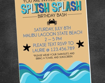 Beach Swimming Birthday Party Invitation (digital printable file)