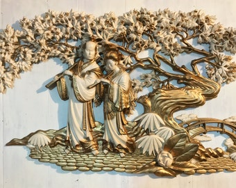 large Asian garden plaque - Burwood kitsch Oriental wall hanging - chinoiserie decor - Hollywood Regency