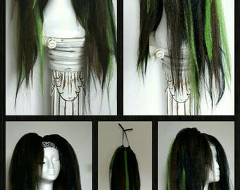 Pair of loose hair falls in black, green and brown on strong elastic