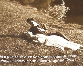 1910s Antique French postcard, Romantic couple, real photo postcard (RPPC)  paper ephemera.