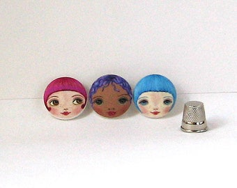Doll making supplies, Face Buttons, Unusual Buttons, Sewing Notions, Covered Buttons, Handmade Buttons