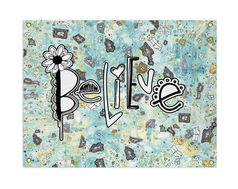 Believe tapestry inspirational art blue boho tapestry abstract tapestry art bohemian tapestries wall hanging tapestry mixed media tapestry