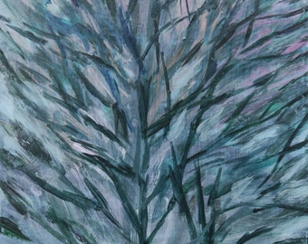 Sturdy Tree, Multicolor Sky - original art, small painting by Irene Stapleford - wantknot shop
