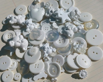 White Buttons - Assorted Round Square Sewing Button - Teddy Bears - Stars - Music Notes - 100 Buttons - Basic Whites