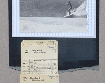 Original OOAK Handmade Analog Surfing Collage with Library Check-Out Card