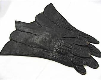 Vintage Black Leather Wrist Gloves