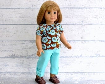 Peasant Top with Bow Capris, 18 inch Doll Clothes Brown Turquoise Floral Top with Turquoise Pants