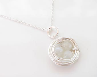 Bird's Nest Necklace - Moonstone - Sterling - Ready to Ship - Great Mother's Day or Easter Gift - New Mom